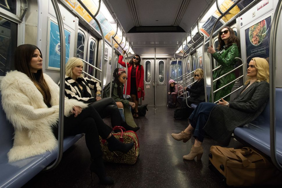 Bullock, Blanchett, Rihanna, Mindy Kaling, Awkwafina, Helena Bonham Carter, Anne Hathaway and Paulson ride the subway togethe