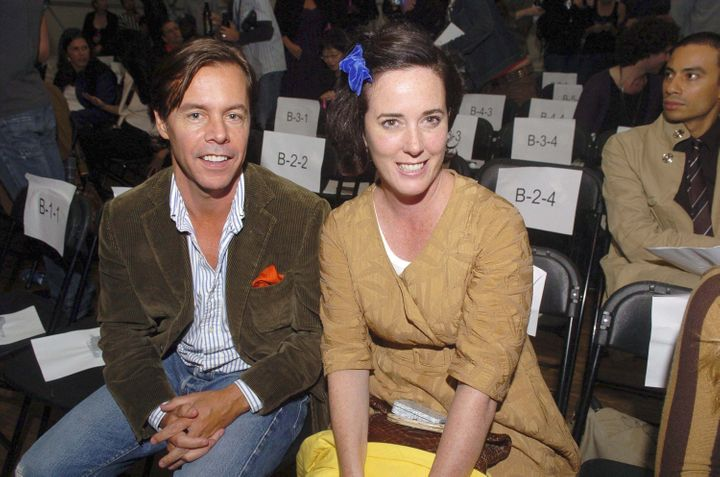 Andy Spade and Kate Spade appear at the Three As Four show during New York Fashion Week in September 2007.