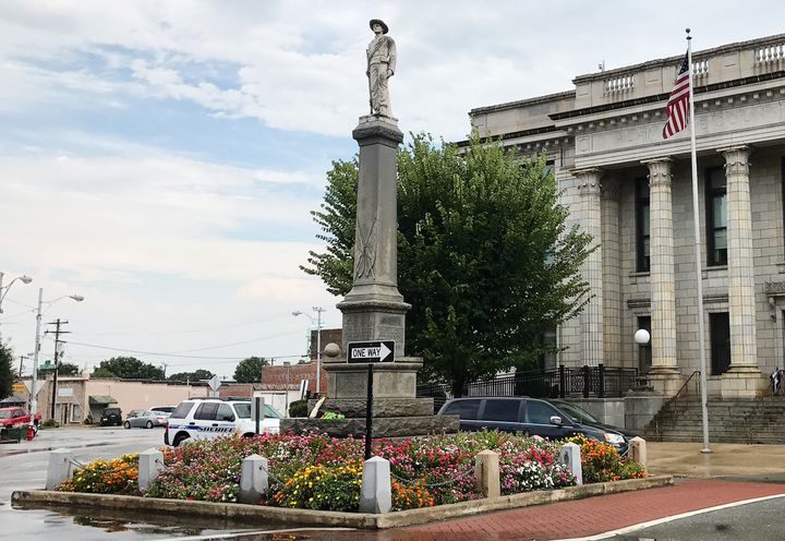 The Alamance County Confederate Monument, erected in 1914, is pictured outside the historic courthouse in Graham, North Carol