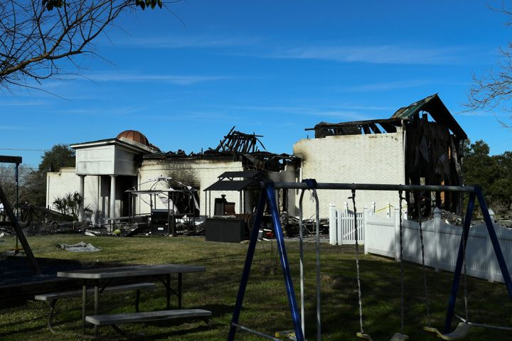 The Victoria Islamic Center mosque in Victoria, Texas, on Jan. 29, 2017, the day after it was damaged in an alleged arso
