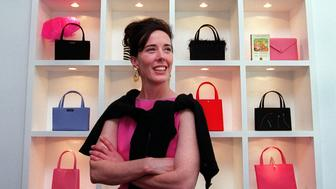 BOSTON, MA - JUNE 25: Designer Kate Spade poses for a portrait in her new handbag store on Newbury Street in Boston on June 25, 1999. (Photo by Wendy Maeda/The Boston Globe via Getty Images)