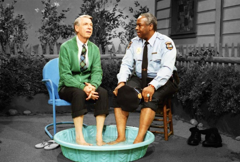 "Fred Rogers and François Clemmons in a scene from a 1969 episode of ""Mister Rogers' Neighborhood."""