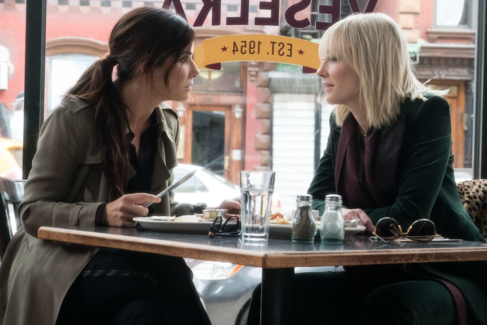 Bullock feeds Blanchett at Veselka in New York. Going to mark this as feasible because you have to believe in something in th