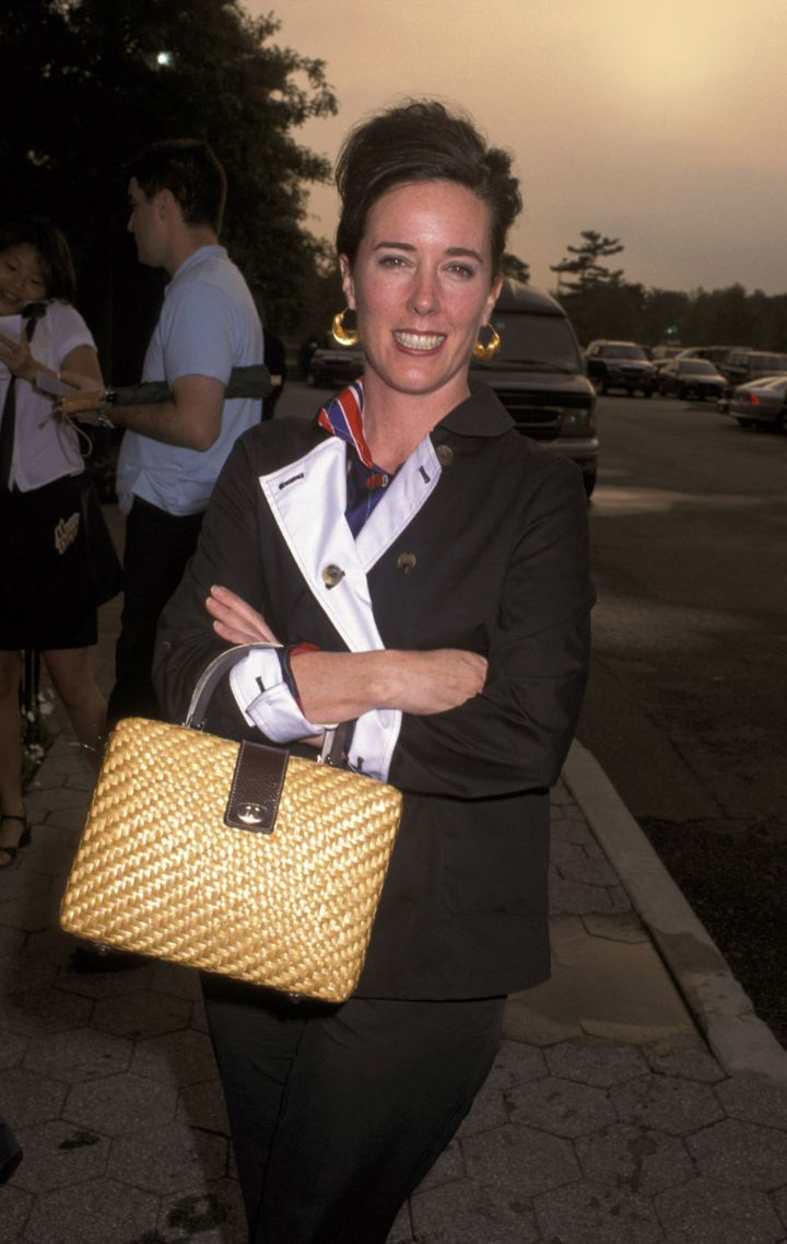 The designer in 2001 with one of her wicker bags.