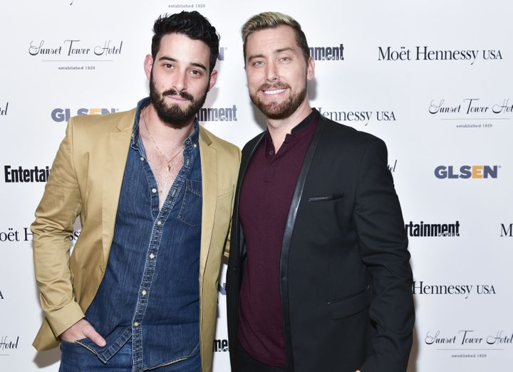 Bass (right) and his husband, Michael Turchin, attend the GLSEN LA Pride Kick Off Gala earlier this month in West Hollywood,
