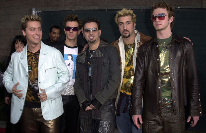 *NSYNC at the Billboard Music Awards in 2000. Lance Bass is on the far left.