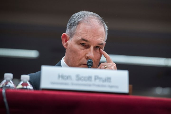 Environmental Protection Agency Administrator Scott Pruitt testifies during a Senate subcommittee hearing on the EPA budget o