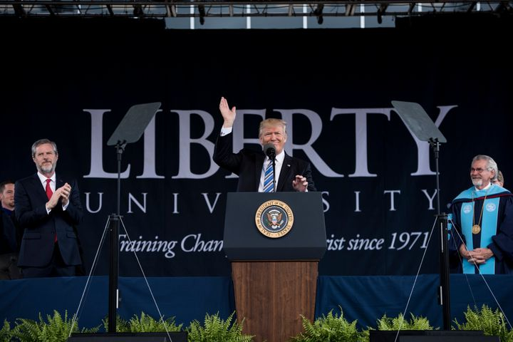 President Donald Trump gave the commencement address at Liberty University in 2017.