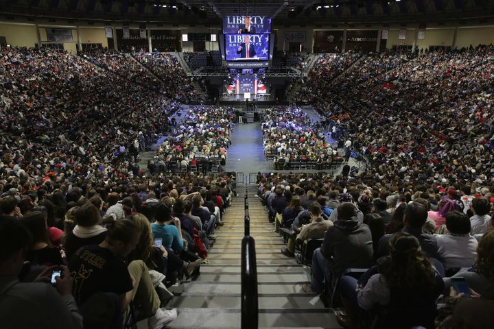 Then-candidate Donald Trump delivers a speech on the campus of Liberty University on Jan. 18, 2016.
