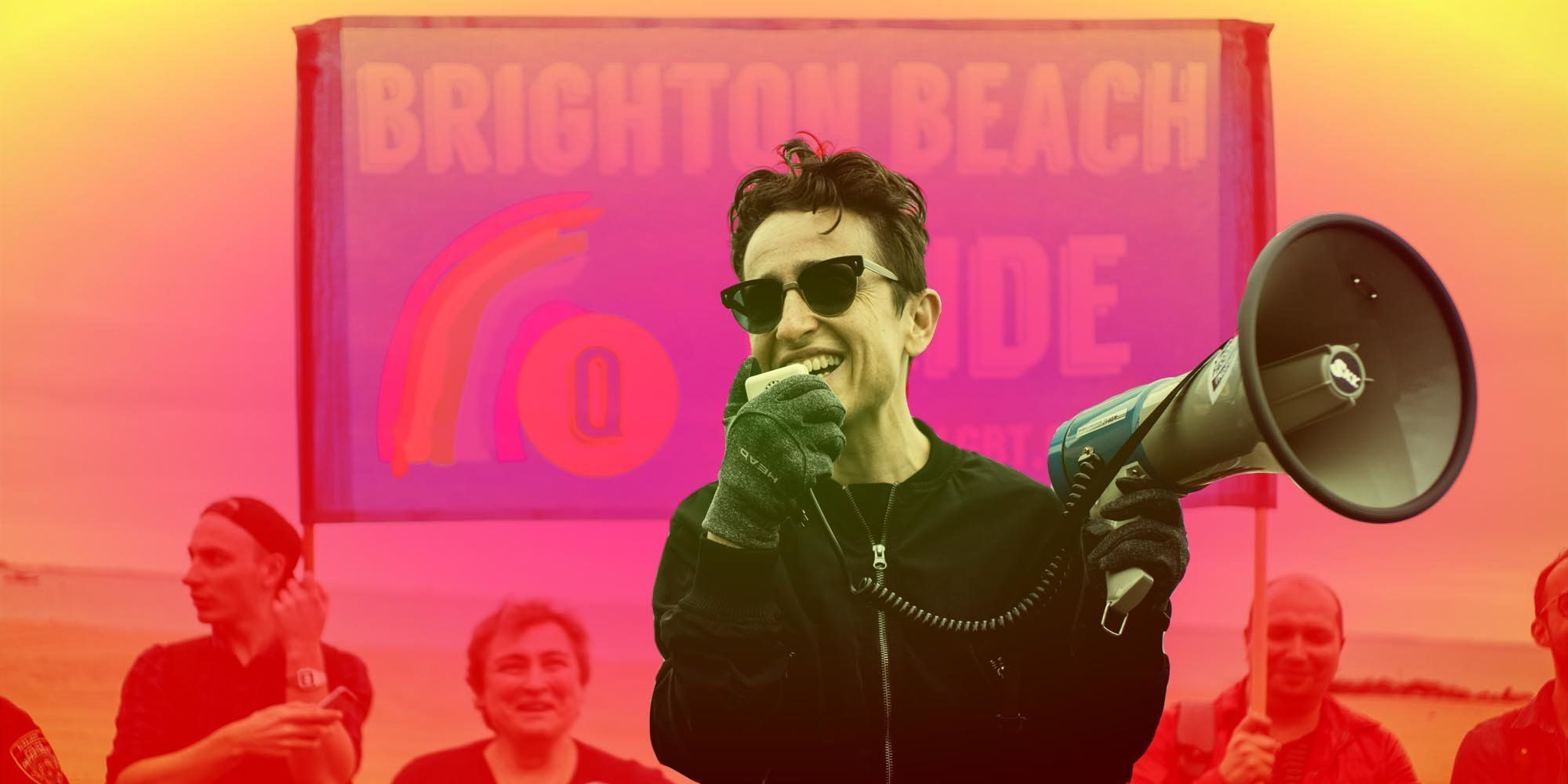 Journalist and activist Masha Gessen speaks at Brighton Beach Pride in 2017. It was the first year for the LGBTQ event i