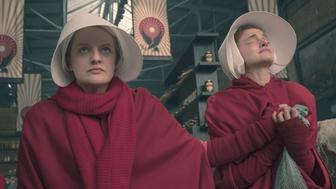"""The Handmaid's Tale -- """"Women's Work"""" - Episode 208 -A sick baby tests Offred and Serena. Janine finally faces Naomi. Offred (Elisabeth Moss) and Janine (Madeline Brewer), shown. (Photo by: George Kraychyk/Hulu)"""