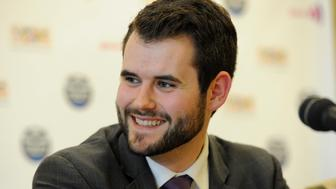 Zach Wahls, executive director of Scouts for Equality, a pro gay organization, fields questions at a news conference after a resolution passed to allow openly gay scouts in the Boy Scouts of America at the Boy Scouts' National Annual Meeting in Grapevine, Texas May 23, 2013. The Boy Scouts of America voted on Thursday to lift a ban on openly gay scouts that had been in place throughout the organization's 103-year history, capping weeks of intense lobbying on both sides, the group said in a statement.  REUTERS/Michael Prengler   (UNITED STATES - Tags: SOCIETY)