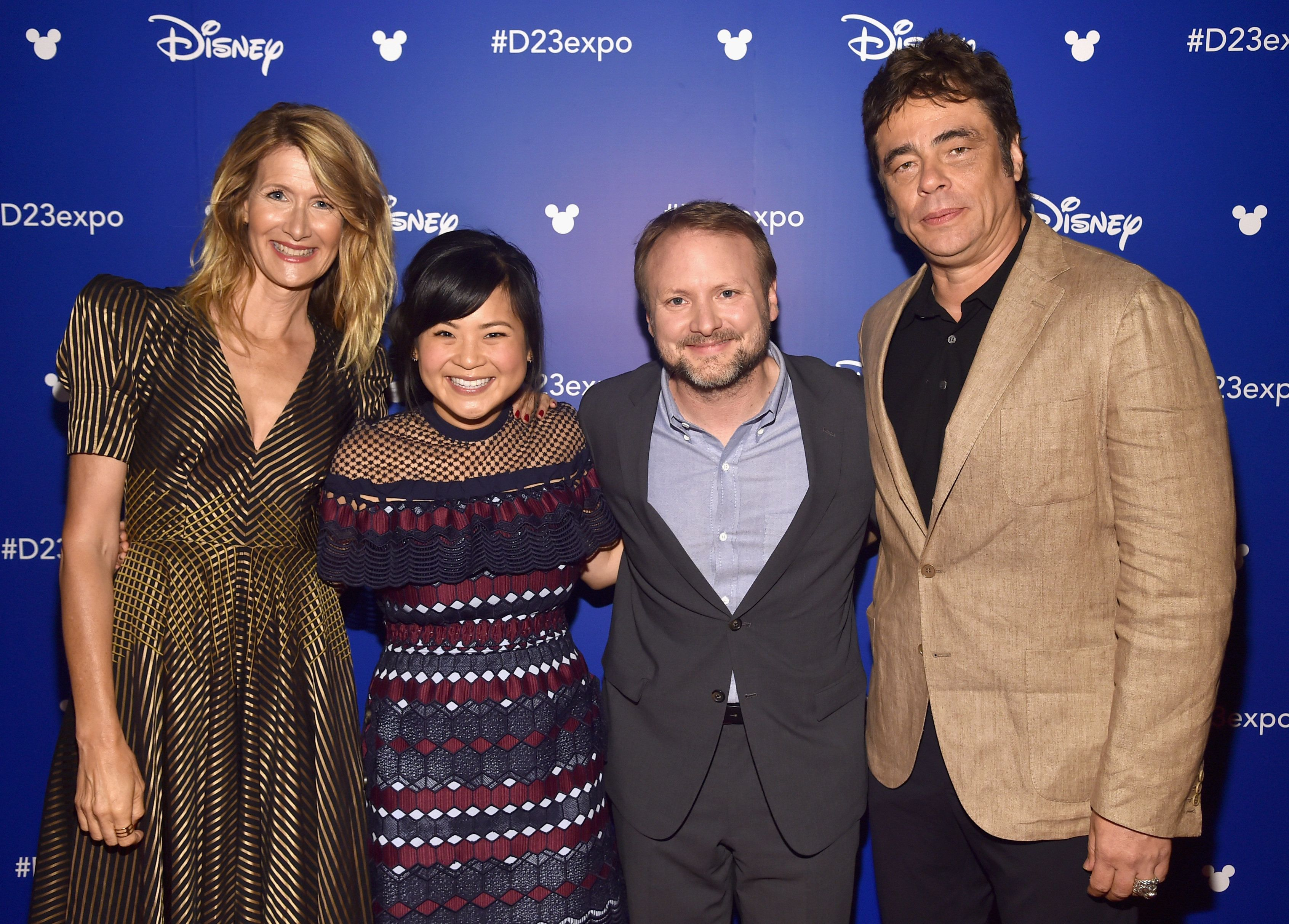 ANAHEIM, CA - JULY 15:  (L-R) Actors Laura Dern and Kelly Marie Tran, director Rian Johnson, and actor Benicio del Toro of STAR WARS: THE LAST JEDI took part today in the Walt Disney Studios live action presentation at Disney's D23 EXPO 2017 in Anaheim, Calif. STAR WARS: THE LAST JEDI will be released in U.S. theaters on  December 15, 2017.  (Photo by Alberto E. Rodriguez/Getty Images for Disney)