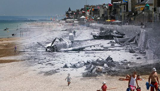 D-Day Beaches Then And Now - Incredible Photographs Bring Past And Present