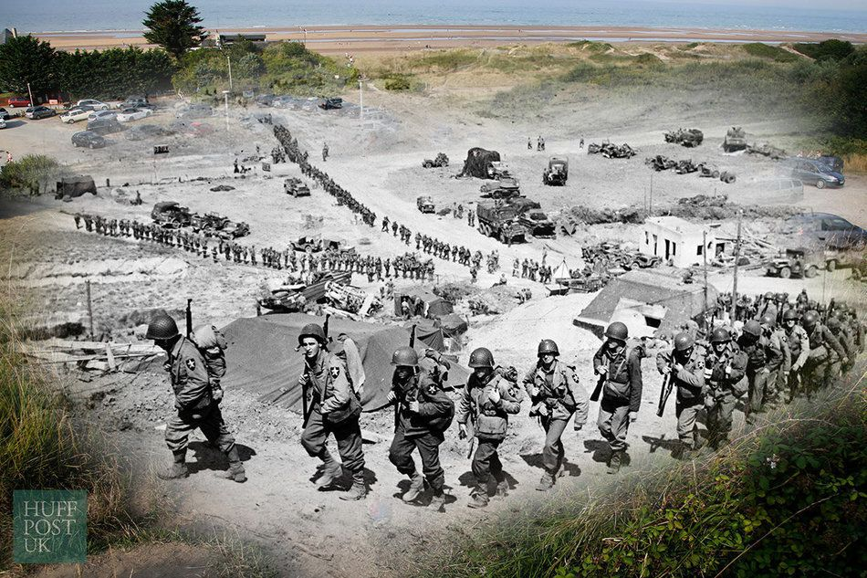 Where US Army reinforcements once marched on June 18, 1944, tourists now tread the same path to the beach...