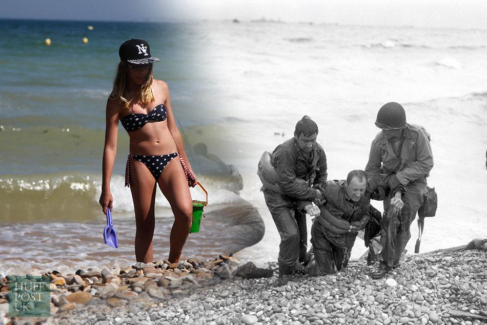 Tourists top up their tans where the members of an American landing party once assisted troops whose...