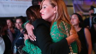 LOS ANGELES, CA - JUNE 05:  Patricia Villaraigosa (R), wife of former Los Angeles Mayor Antonio Villaraigosa, is embraced at an election night party concluding Villaraigosa's run for governor on June 5, 2018 in Los Angeles, California. California voters cast ballots in important primaries across the state.  (Photo by Mario Tama/Getty Images)