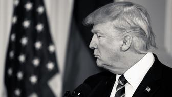 (EDITORS NOTE: Image has been converted to black and white.) President Trump and Chancellor Angela Merkel of Germany, held a joint press conference in the East Room of the White House, on Friday, March 17, 2017. (Photo by Cheriss May/NurPhoto via Getty Images)