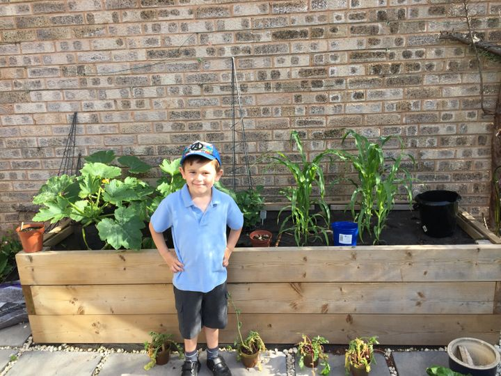 Six-year-old Rowan grows his own vegetables, to help his family avoid buying produce packaged in plastic.