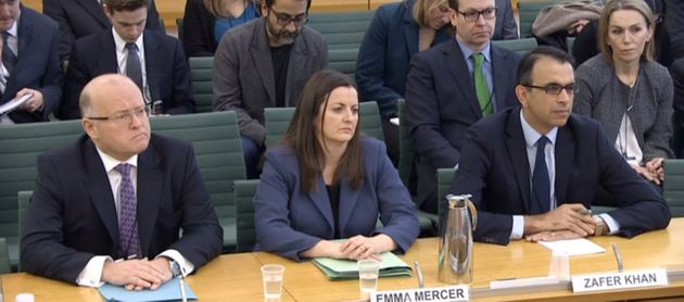 (l-r) Keith Cochrane, Emma Mercer and Zafer Khan answering questions at a joint hearing of the Commons Business, Energy and Industrial Strategy Committee and the Work and Pensions Committee at Portcullis House in London, which is examining events leading up to the business failure