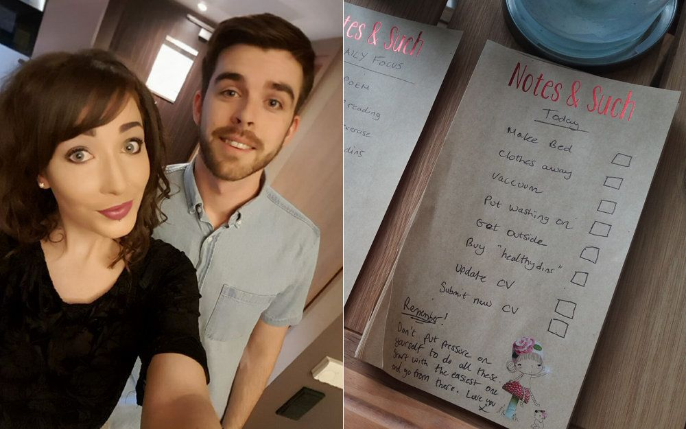 Boyfriend's Sweet Daily Notes Help Woman Cope With Eating Disorder And Depression