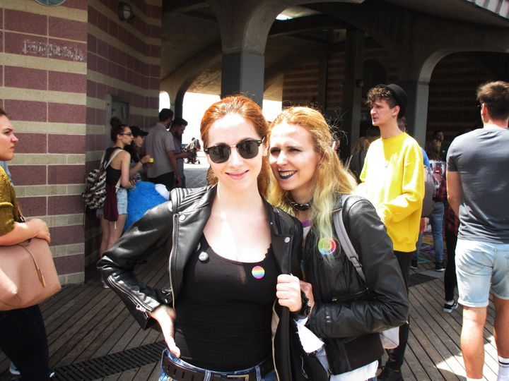 Anna Elvira Brodskaya (left) and Anastasia Orlova at Brighton Beach Pride last month.
