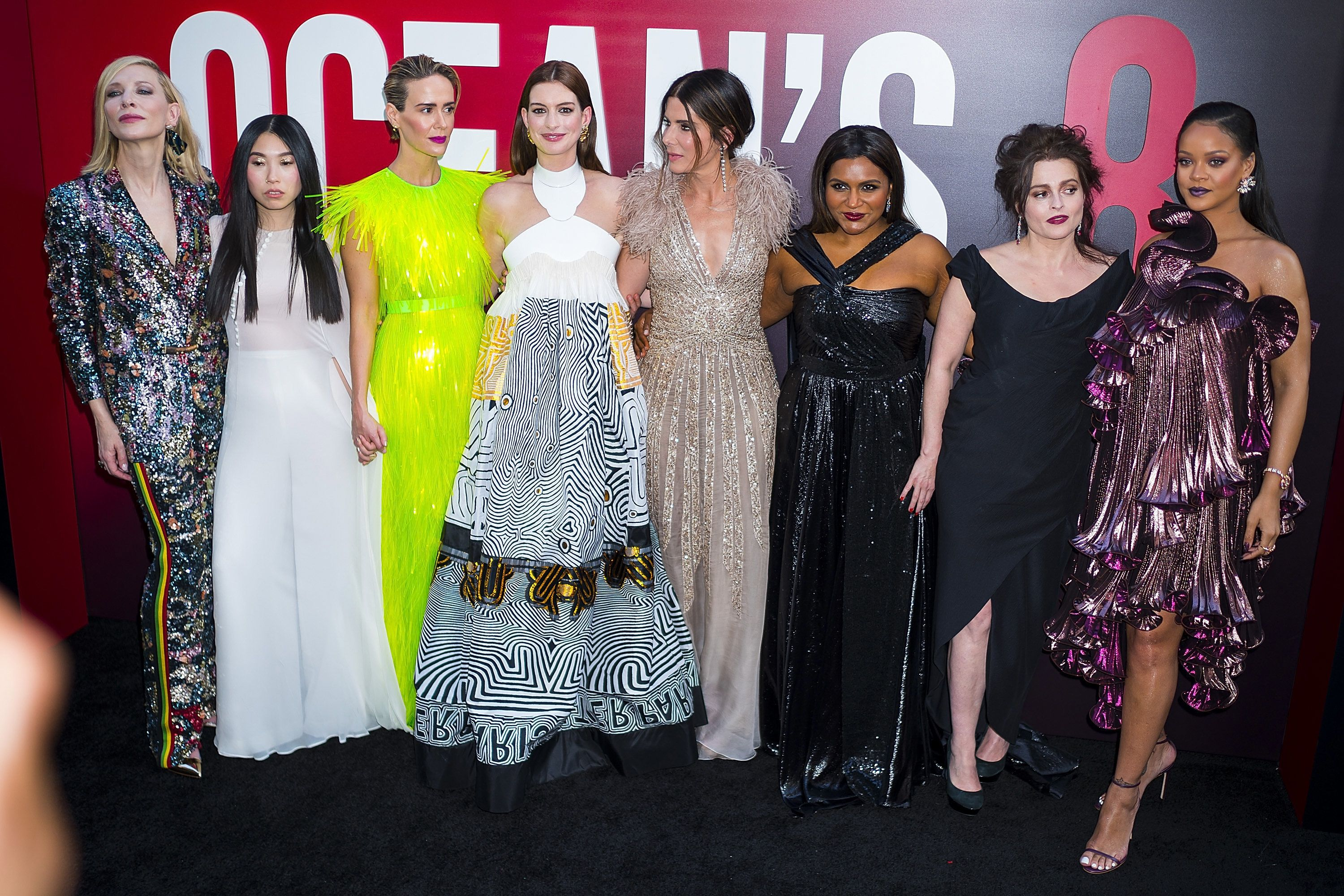 NEW YORK, NY - JUNE 05:  (L-R) Cate Blanchett, Awkwafina, Sarah Paulson, Anne Hathaway, Sandra Bullock, Mindy Kaling, Helena Bonham Carter and Rihanna attend the 'Ocean's 8' World Premiere at Alice Tully Hall on June 5, 2018 in New York City.  (Photo by Michael Stewart/WireImage)