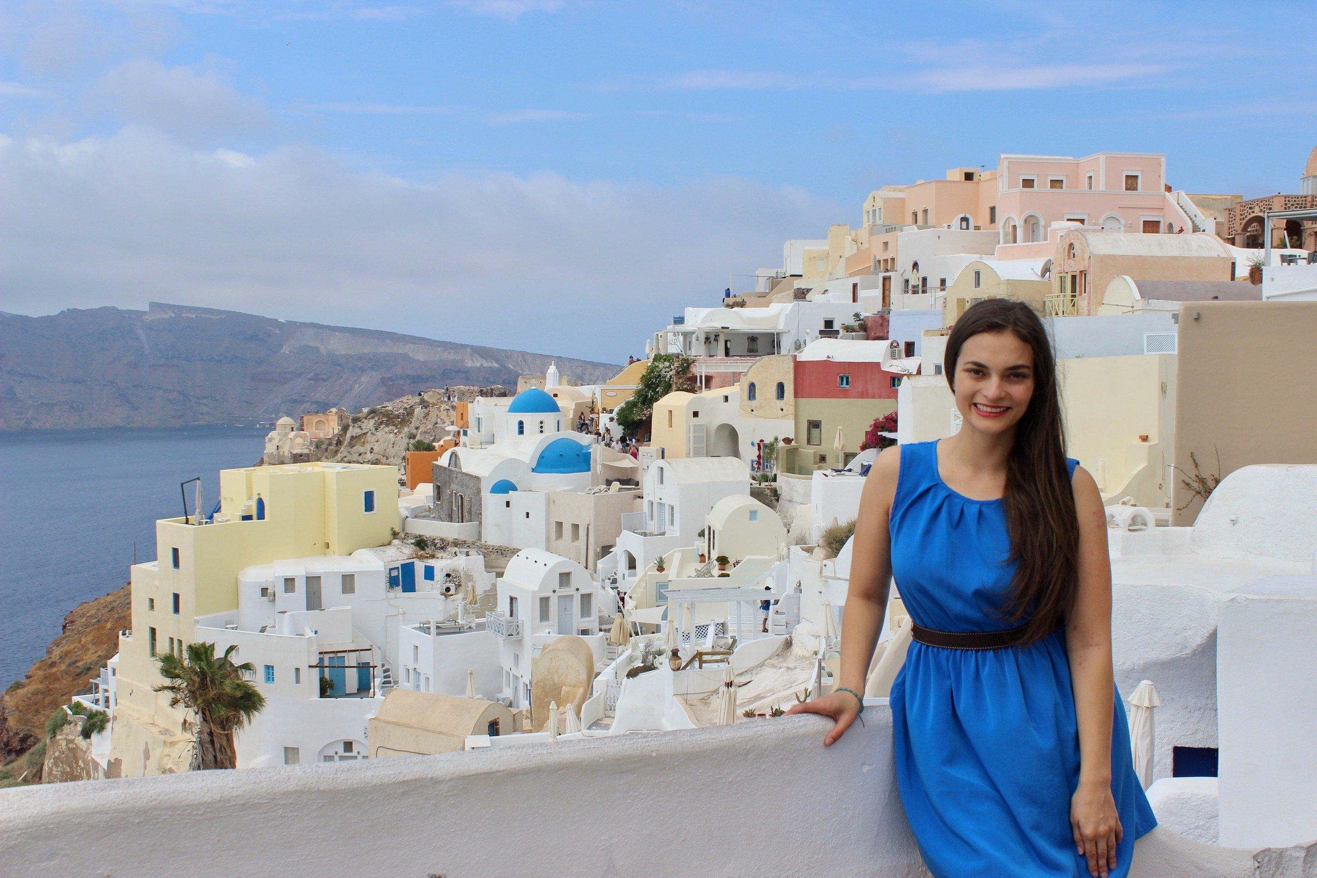 Enjoying the view in Santorini, Greece.