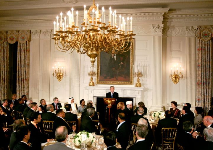 President George W. Bush makes remarks at an iftar dinner with ambassadors and Muslim leaders on Oct. 17, 2005. Iftar is the meal that breaks Muslims' daylong fast during Ramadan.