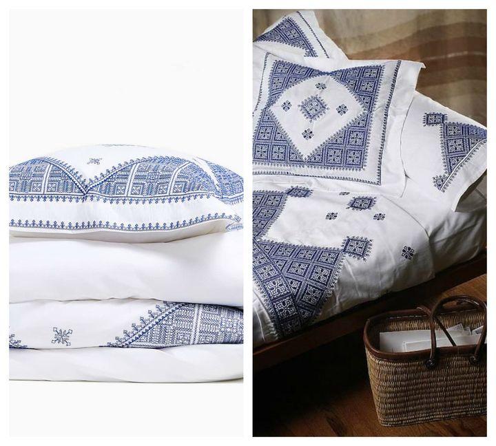 À droite, un ensemble traditionnel marocain en broderie fassi. À gauche, parure de lit Zara.