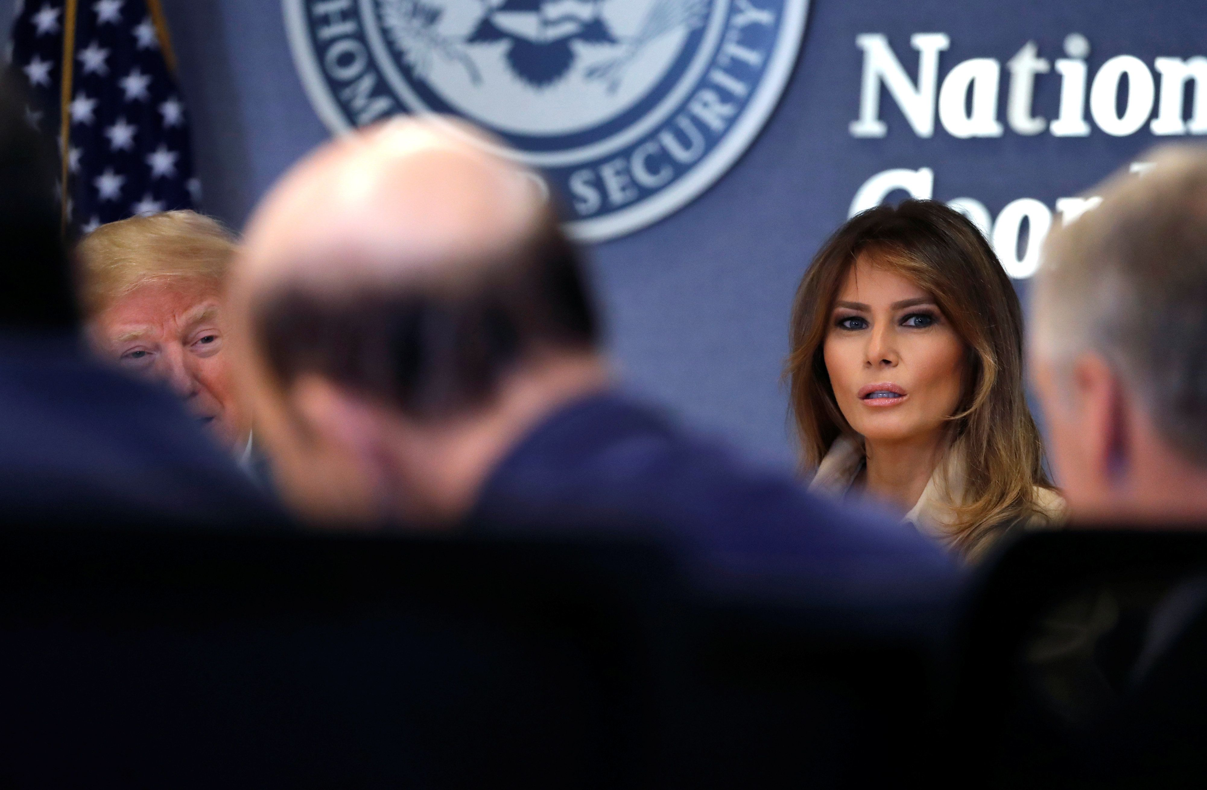 First lady Melania Trump appears at a FEMA briefing on June 6, her first public appearance in weeks.