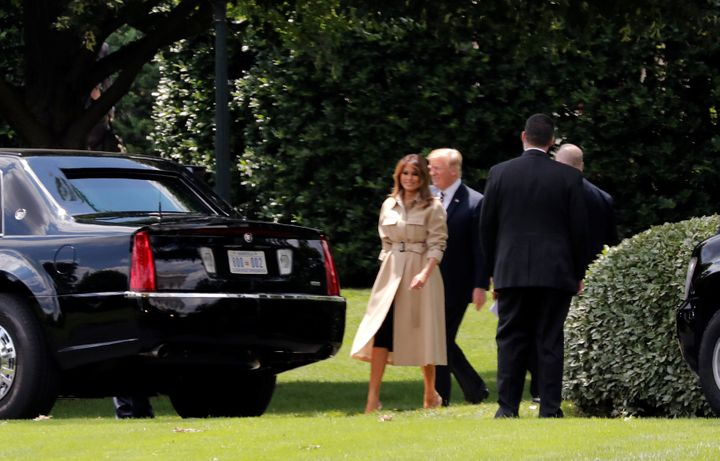 First lady Melania Trump leaves the White House earlier on June 6.