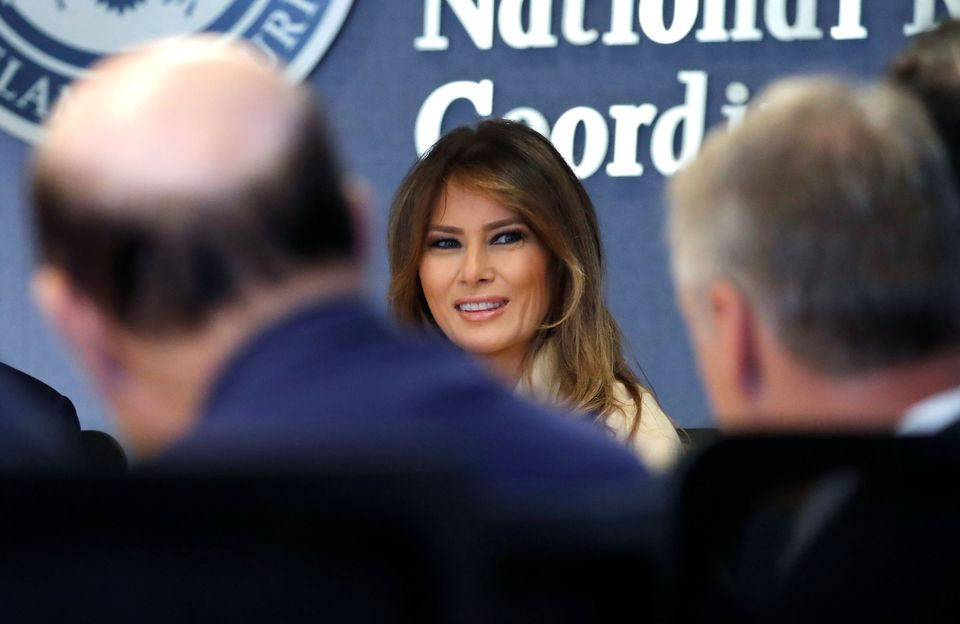 U.S. first lady Melania Trump appears with President Donald Trump at a public event for the first time in almost a month duri