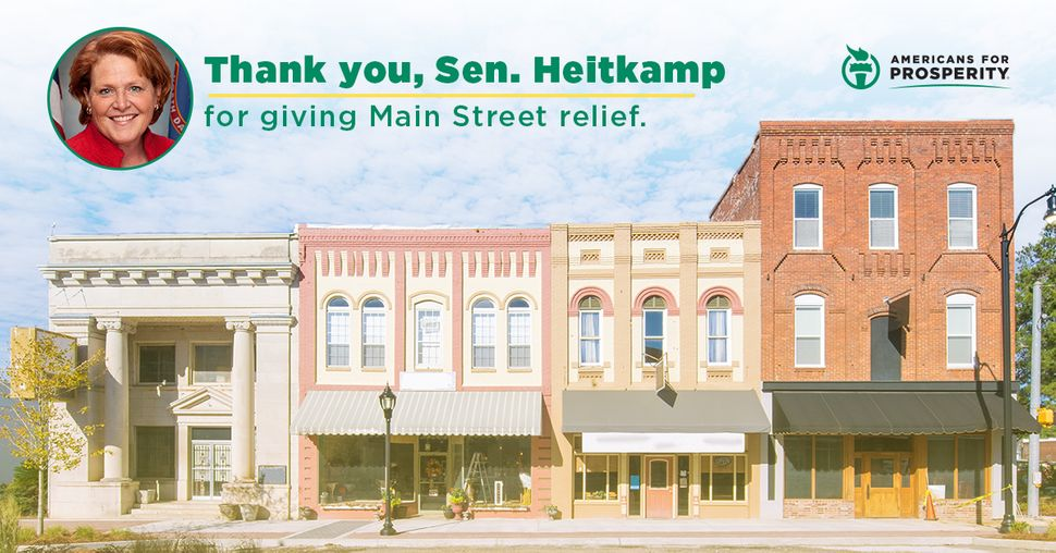 Americans for Prosperity, founded by Charles and David Koch, released a digital ad campaign to thank Heitkamp.