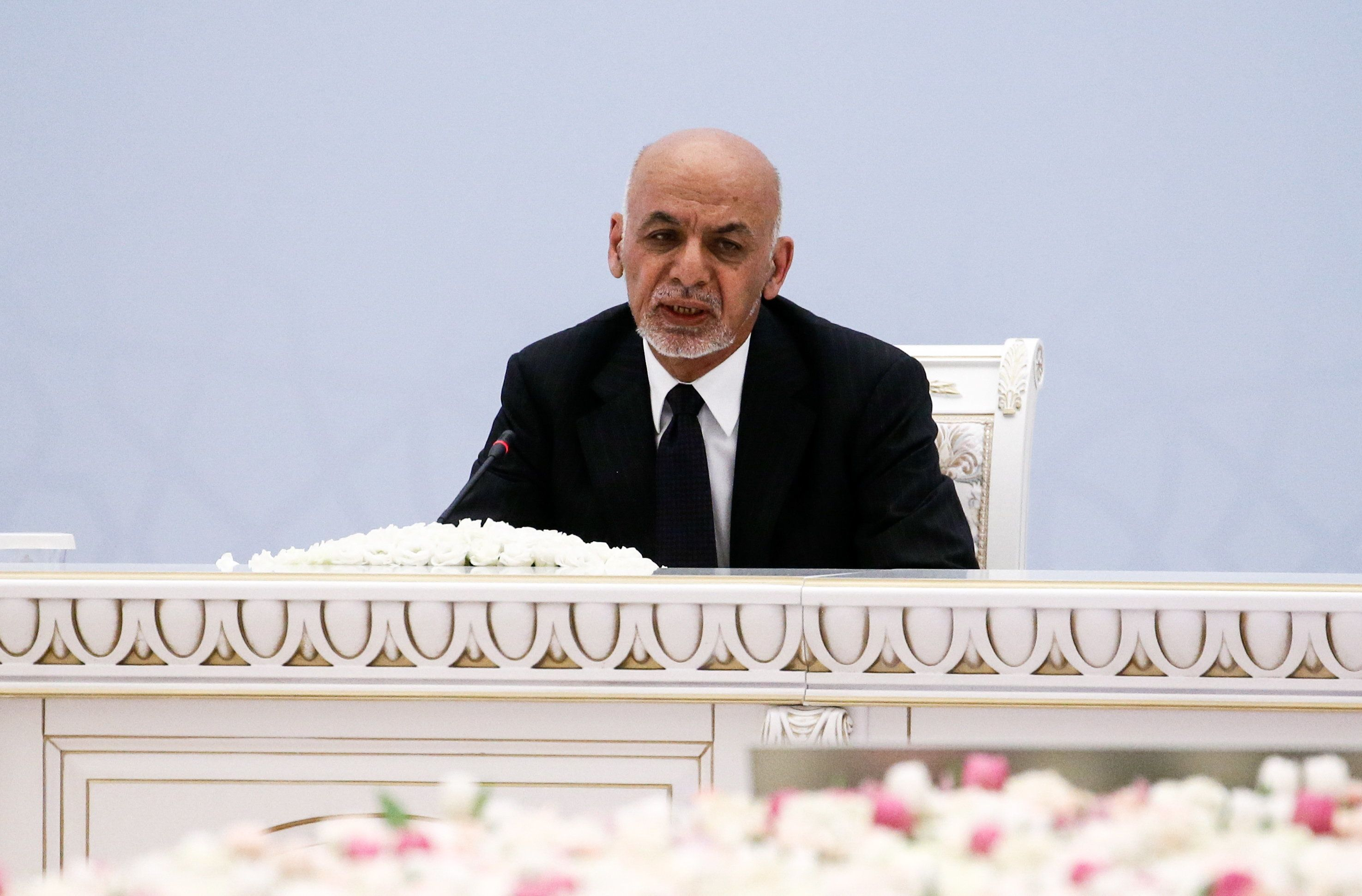 TASHKENT, UZBEKISTAN  MARCH 27, 2018: Afghanistan's President Ashraf Ghani Ahmadzai at the Afghanistan peace conference. Alexander Shcherbak/TASS (Photo by Alexander Shcherbak\TASS via Getty Images)