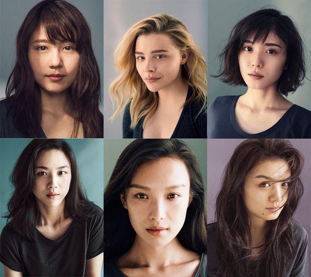 좌측 상단부터 시계 방향으로 카즈미 아리무라, 클로이 모레츠, 마유 마츠오카, 춘시아, 니니, 탕웨이. SK2 #BareSkinProject에 참여한 6명의
