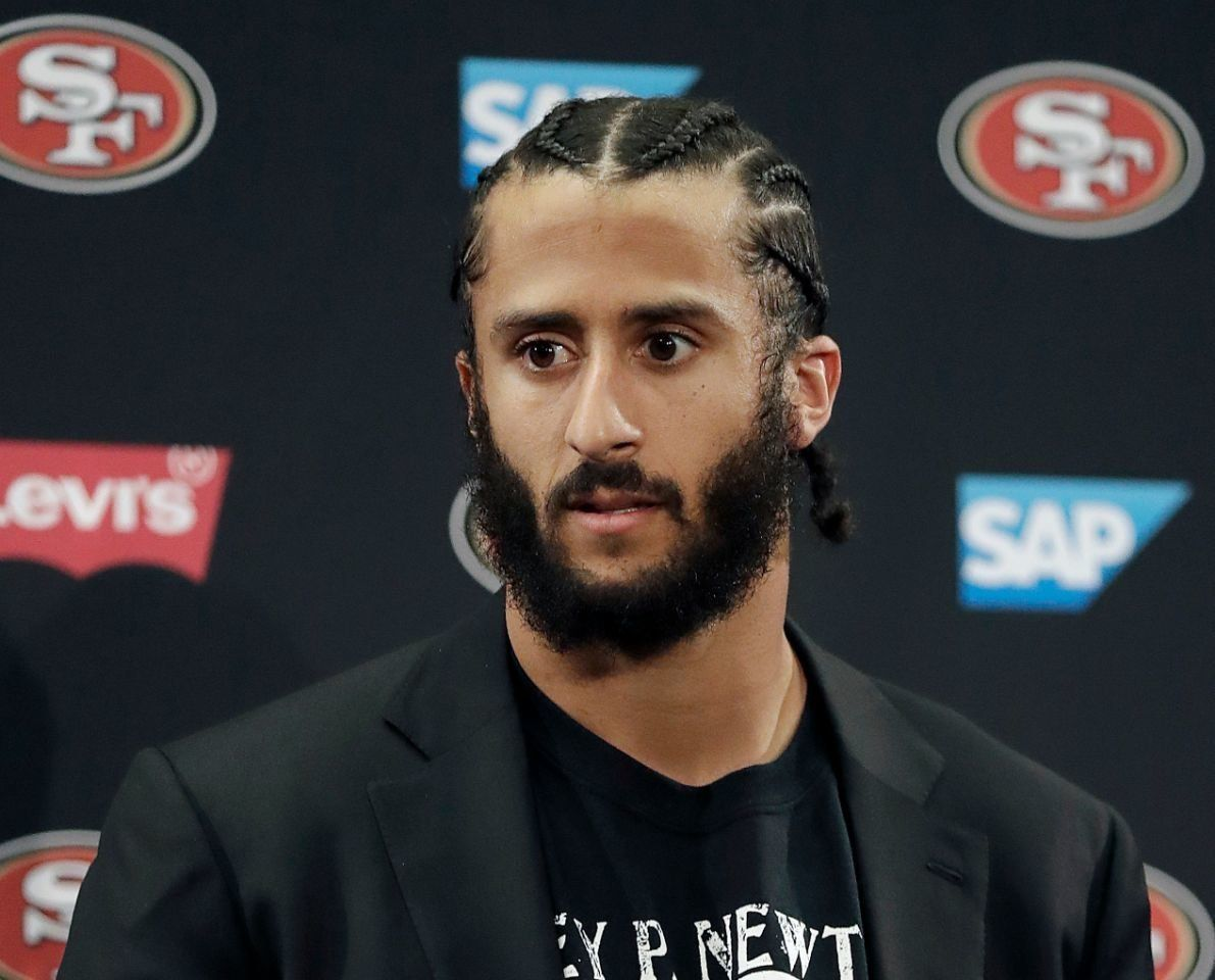 This Jan. 1, 2017, file photo shows former 49ers quarterback Colin Kaepernick speaking at a news conference.