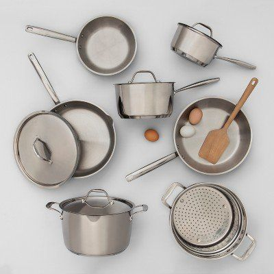 "$15 to $130, get it <a href=""https://www.target.com/p/stainless-steel-cookware-collection-made-by-design-153/-/A-53334205"" ta"