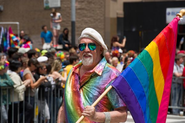 """Though the rainbow flag is his best-known creation, Bakerworked for San Francisco's now-defunct <a href=""""http://bearfla"""