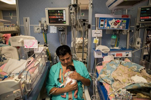 Gerardo Brito Rodriguez holds his 13-day-passe premature little one, Diana Brito Muñoz, at the Instituto Nacional de Perinatol