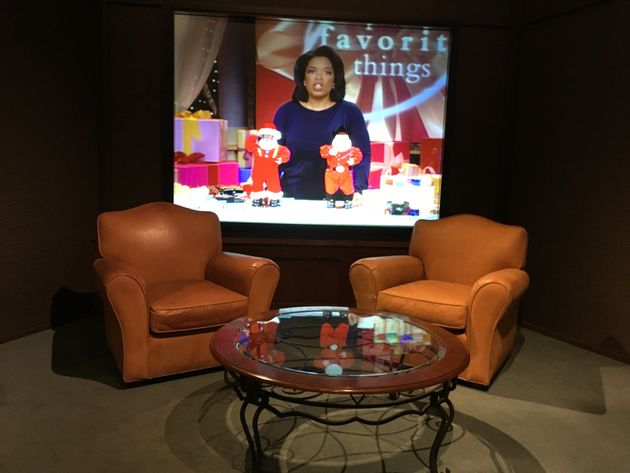 """Are-creation of Oprah's talk show set, """"an idealized extension of television viewers'..."""