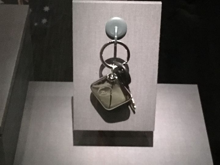 """You get a car! You get a car! Everybody gets a car!"" A keychain from said car giveaway is featured in the exhibit."