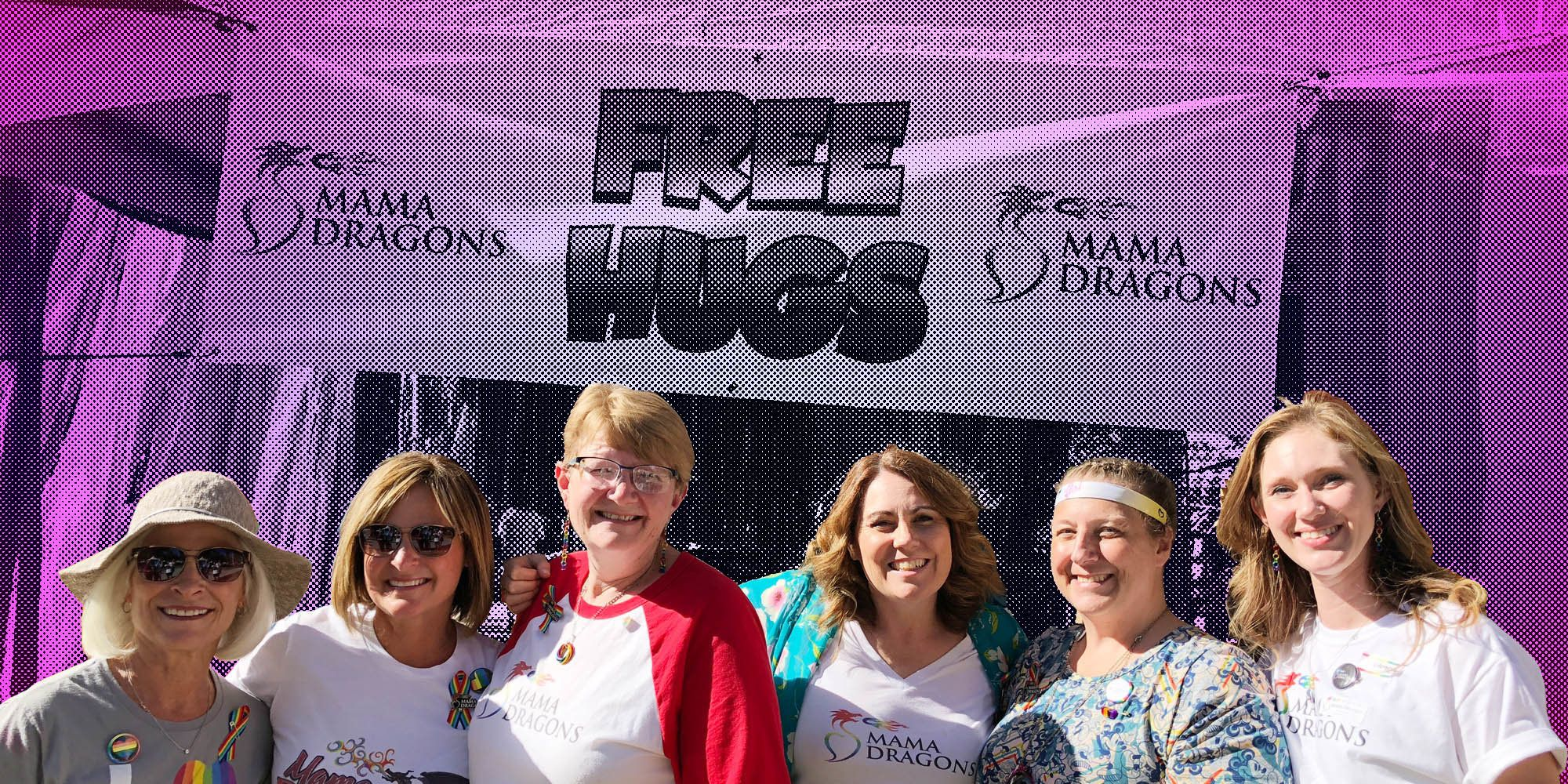 """Mama Dragons attend Salt Lake City Pride in Utah, where they set up an annual """"Hugging Booth."""""""