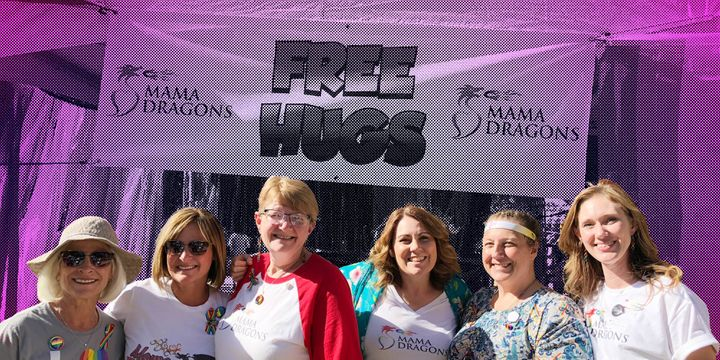 "Mama Dragons attend Salt Lake City Pride in Utah, where they set up an annual ""Hugging Booth."""