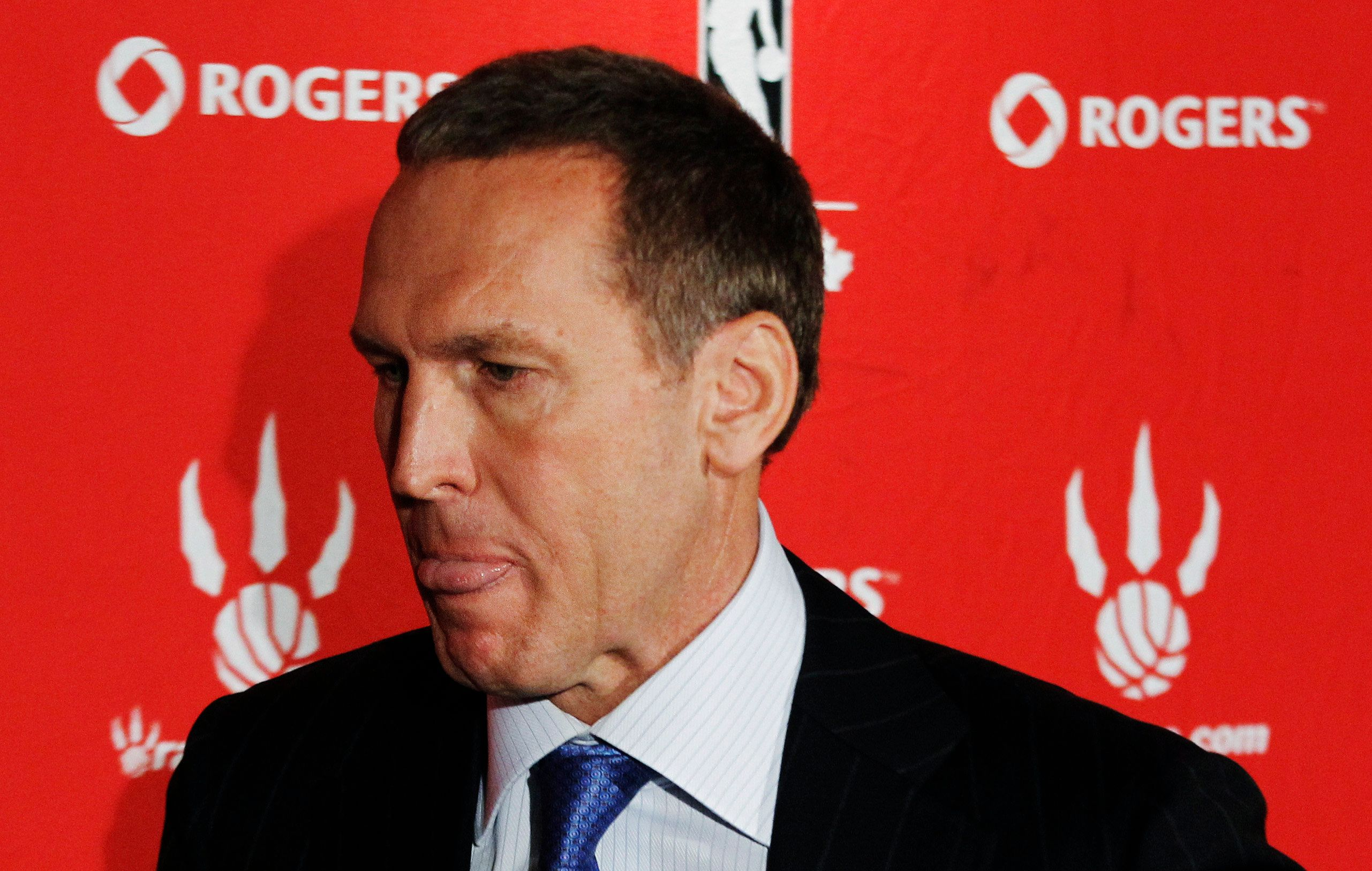 Bryan Colangelo, general manager of NBA basketball team Toronto Raptors, leaves after a news conference discussing their season's results, in Toronto April 27, 2012.     REUTERS/Mark Blinch (CANADA - Tags: SPORT BASKETBALL HEADSHOT)