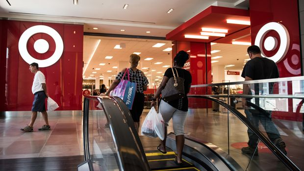 Shoppers walk towards a Target Corp. store at City Point in the Brooklyn borough of New York, U.S., on Wednesday, July 19, 2017. Bloomberg is scheduled to release consumer comfort figures on July 20. Photographer: Mark Kauzlarich/Bloomberg via Getty Images