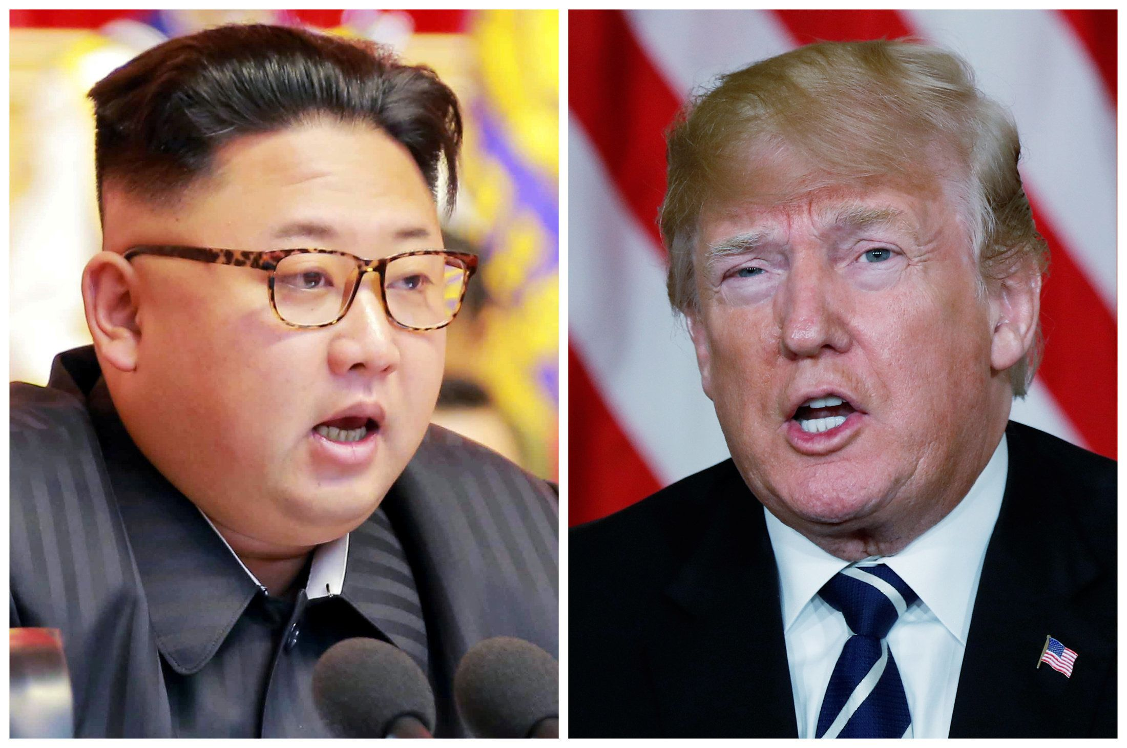 FILE PHOTO: A combination photo shows North Korean leader Kim Jong Un (L) in Pyongyang, North Korea and U.S. President Donald Trump (R), in Palm Beach, Florida, U.S., respectively from Reuters files.   REUTERS/KCNA handout via Reuters & Kevin Lamarque (R)    ATTENTION EDITORS - THIS PICTURE WAS PROVIDED BY A THIRD PARTY. REUTERS IS UNABLE TO INDEPENDENTLY VERIFY THE AUTHENTICITY, CONTENT, LOCATION OR DATE OF THIS IMAGE. FOR EDITORIAL USE ONLY. NOT FOR SALE FOR MARKETING OR ADVERTISING CAMPAIGNS. NO THIRD PARTY SALES. NOT FOR USE BY REUTERS THIRD PARTY DISTRIBUTORS. SOUTH KOREA OUT. NO COMMERCIAL OR EDITORIAL SALES IN SOUTH KOREA.