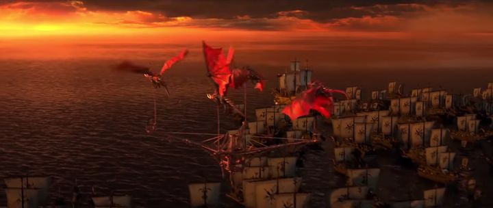 Just some dragons flying with ships.