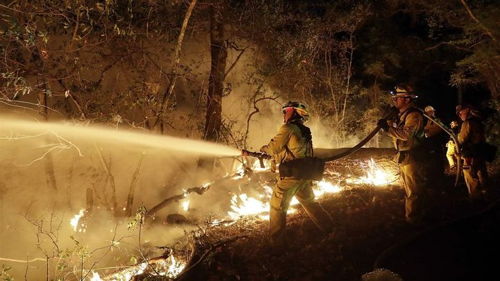 Fire crews battle an October wildfire in Santa Rosa, California. Pacific Gas & Electric has been sued some hundred times