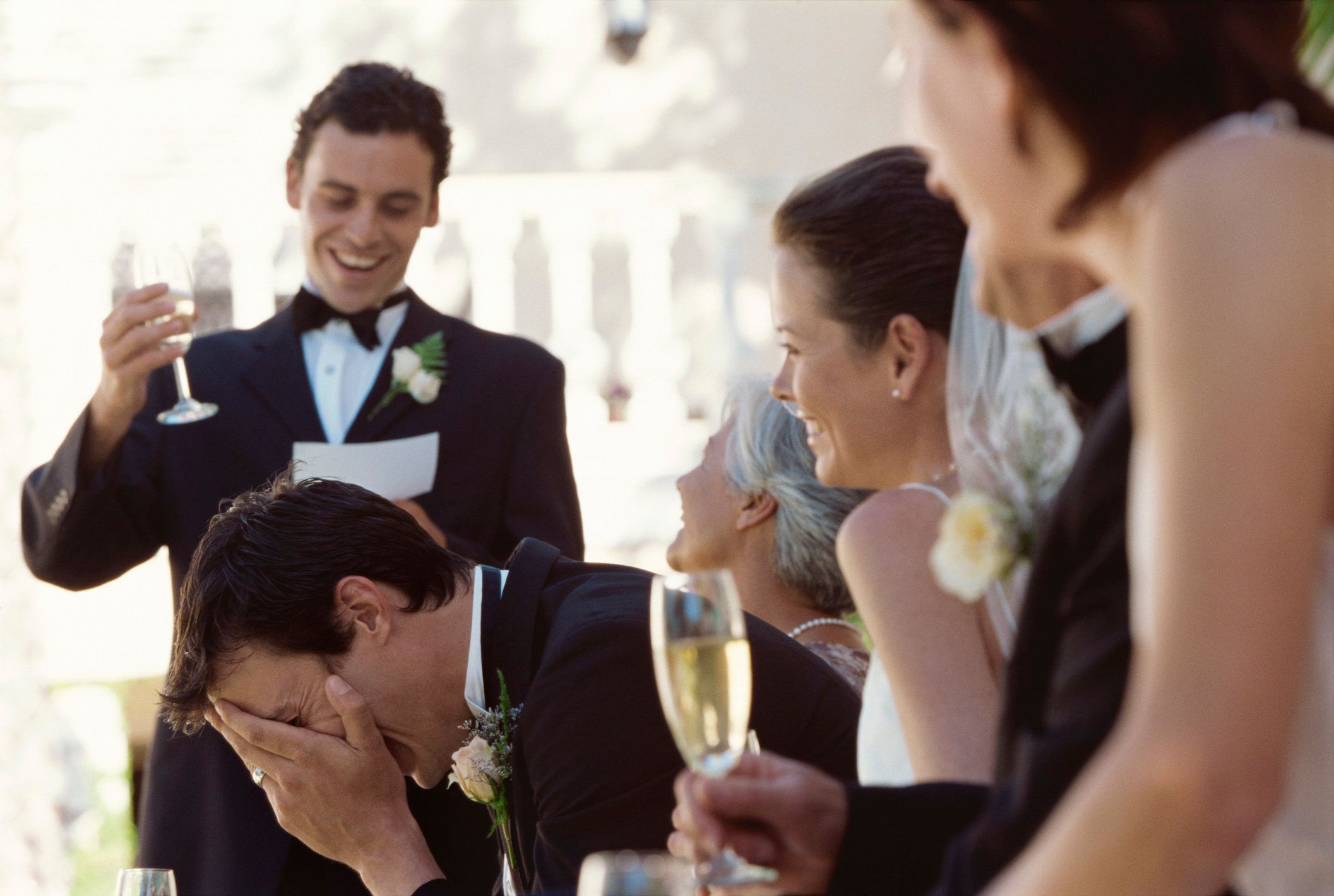 """<a href=""""https://www.huffingtonpost.com/entry/little-girl-gives-wedding-speech_us_596ccf1be4b03389bb192f49"""">Funny wedding speeches</a> may be the gold standard, but not everyone is a comedian.Below are some tips forthe<a href=""""https://www.huffingtonpost.com/topic/best-man"""">best man</a>or<a href=""""https://www.huffingtonpost.com/topic/maid-of-honor"""">maid of honor</a>to help you compose a toast that's humorous but also meaningful."""